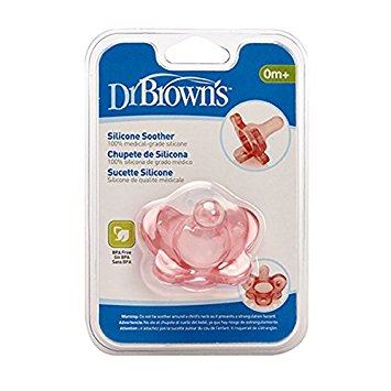 Dr Brown : Dr Brown Silicone Soother pink- One Piece Soother.