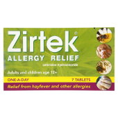 Zirtec : Zirtek Allergy Relief 7 Tablets